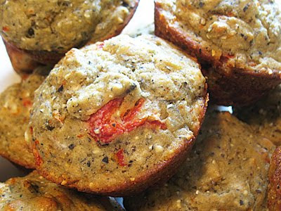 Quinoa Flour Muffins with Roasted Red Peppers and Goat Cheese (Gluten-Free)
