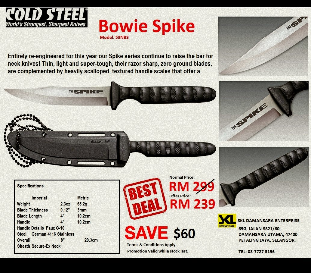 Cold Steel Bowie/Tokyo Spike OFFER now at RM 239.00 only instead of RM 299!