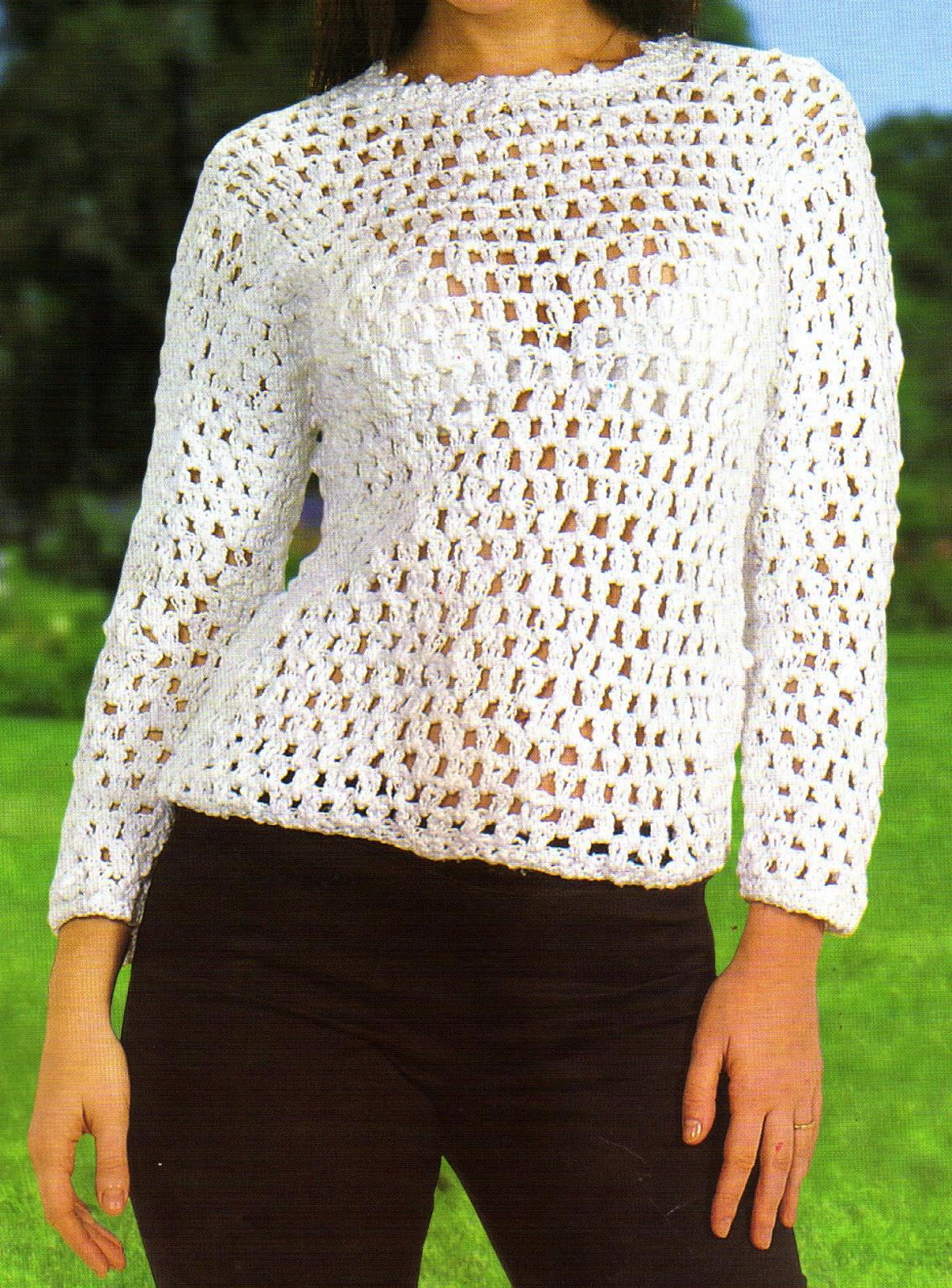 tejidos artesanales en crochet: sueter estilo clasico (talle 42)