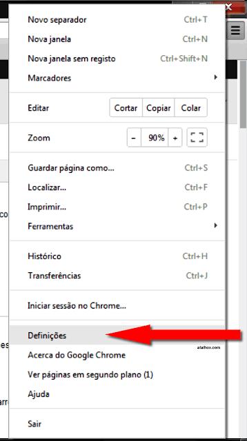 Opções do navegador de Internet
