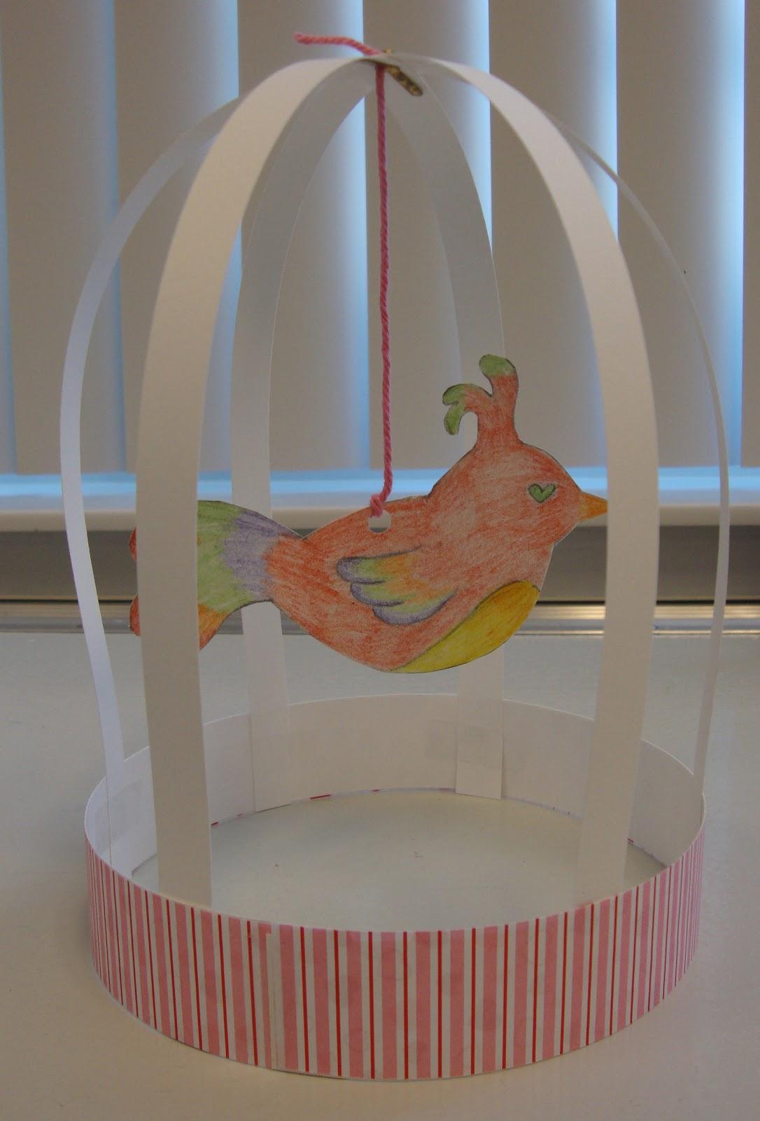 Art paper scissors glue bird cage sculptures for Birdhouse project