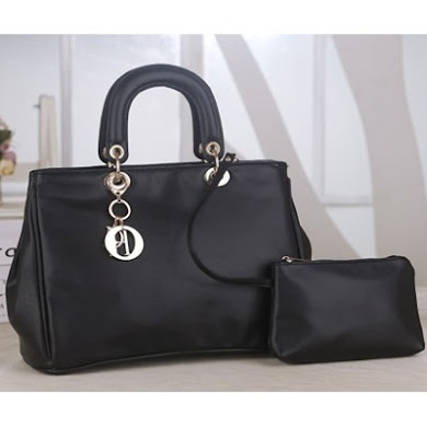 DIOR DESIGNER BAG (2 IN 1 SET) - BLACK