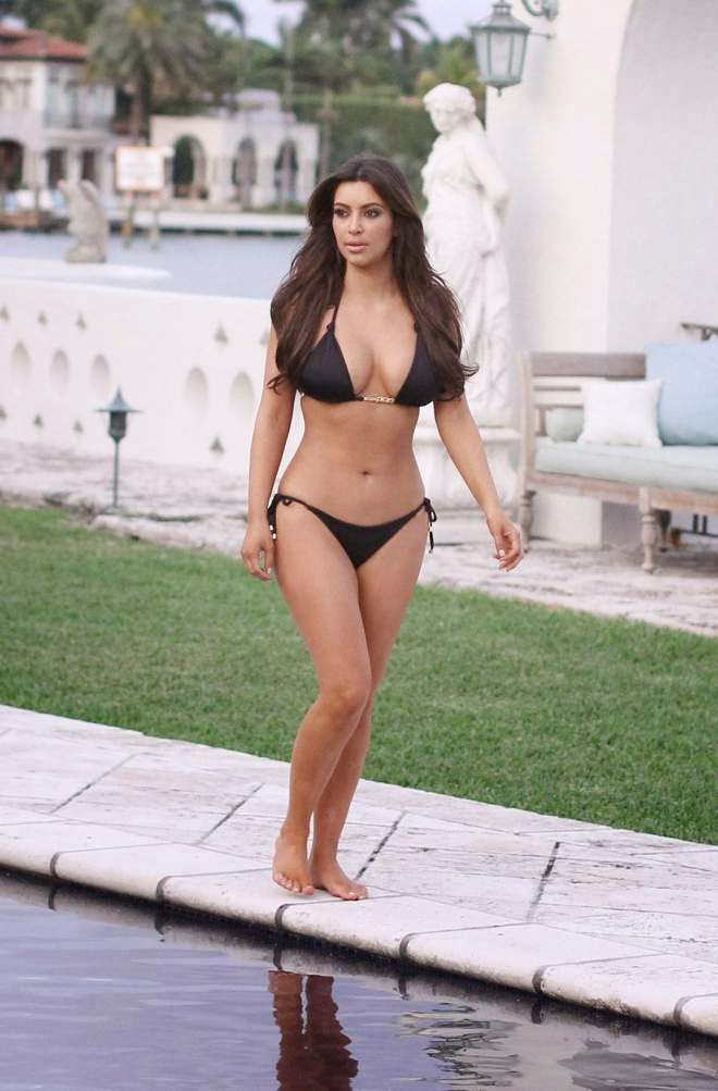 Kim Kardashian Poolside See Thru Bikini Photos