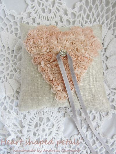 Ring bearer pillow with heart in roses
