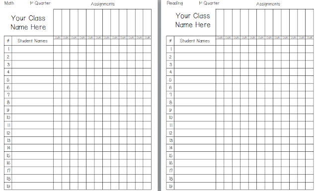 Handy image regarding free printable gradebook