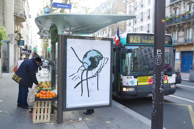 Two days before the launch of the UN COP21 Climate Conference, 600 posters were installed by the Brandalism project in outdoor media spaces across Paris.