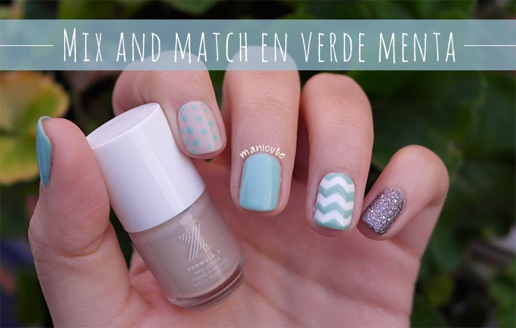 ManiCute | Nail art blog: Mix and match en verde menta
