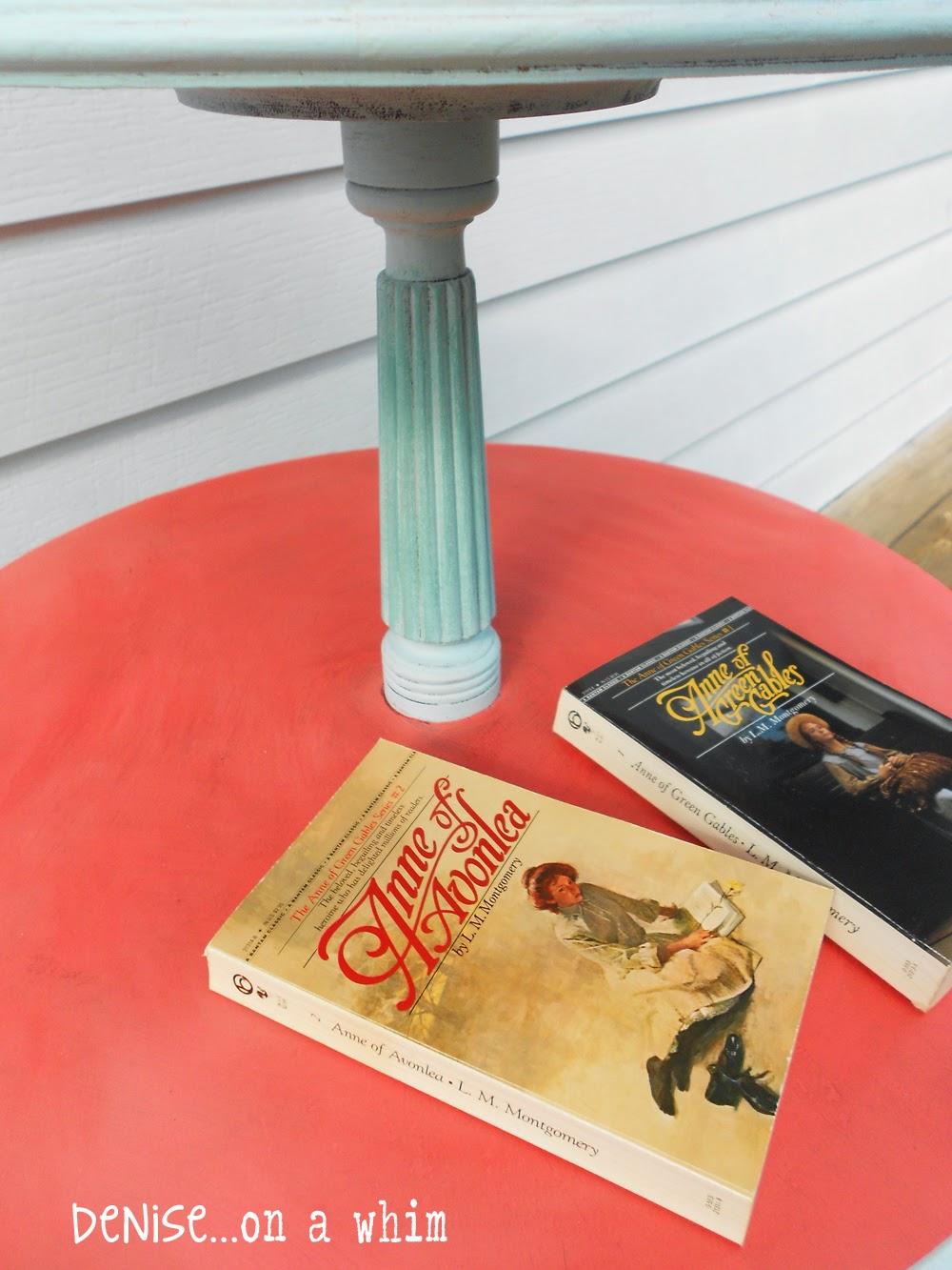 Destin Gulf Green over a homemade blue chalk paint adds texture to a table makeover from Denise on a Whim