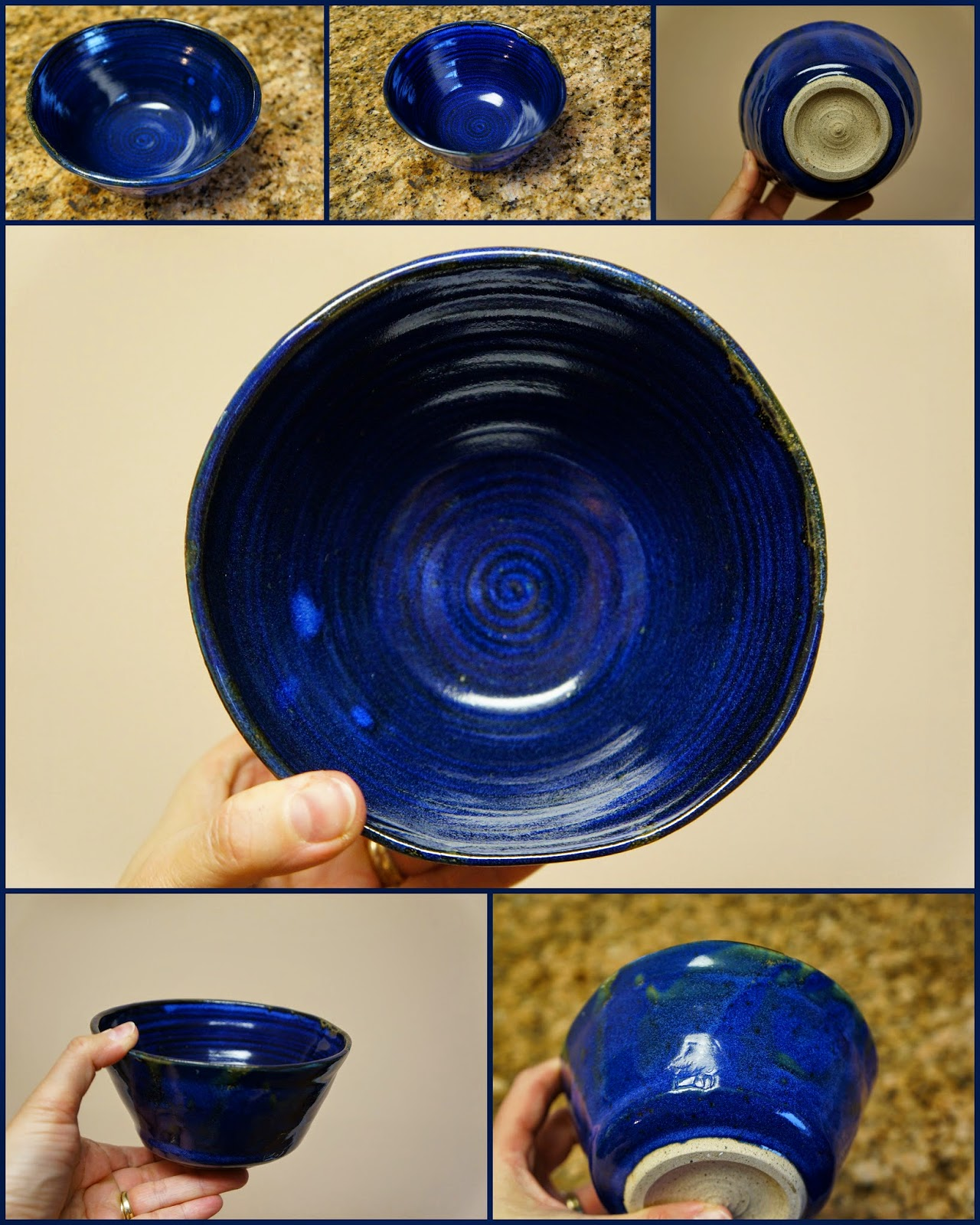 Unique handmade pottery / stoneware dish with swirly design inside and deep blue glaze.