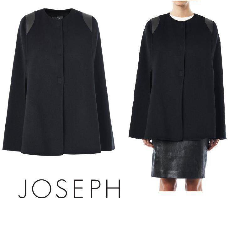 Princess Mary - Joseph Black Capon Leather Trimmed Cashmere Cape