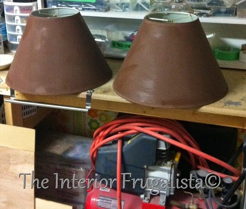 Two lamp shades painted with Chocolate Tart chalk paint.