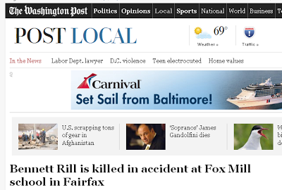 pOST lOCAL: Bennett Rill is killed in accident at Fox Mill school in Fairfax