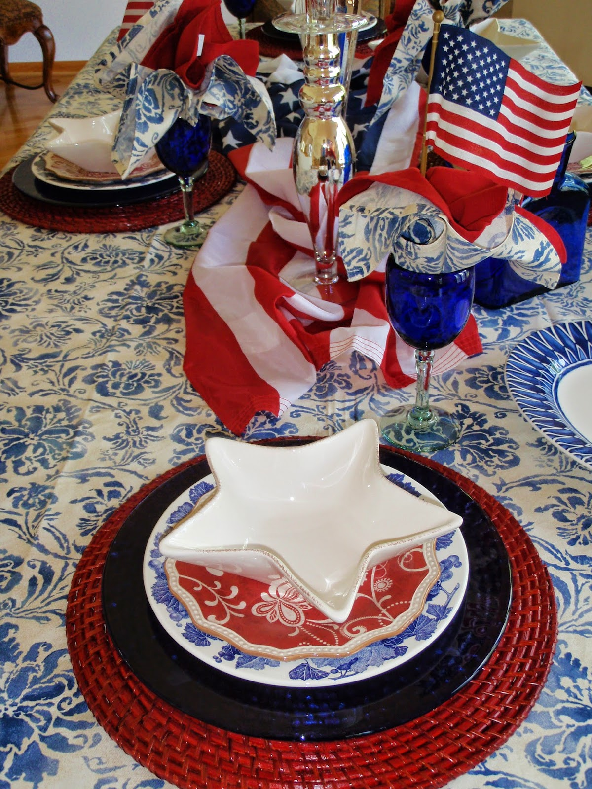 Pier One place mats cobalt blue glass chargers of unknown origin Williams Sonoma grape dinner plates Pier One bandanna salad plate all topped with white ... & A Graceful Table: 4th of July party on Eagle\u0027s Nest Lake