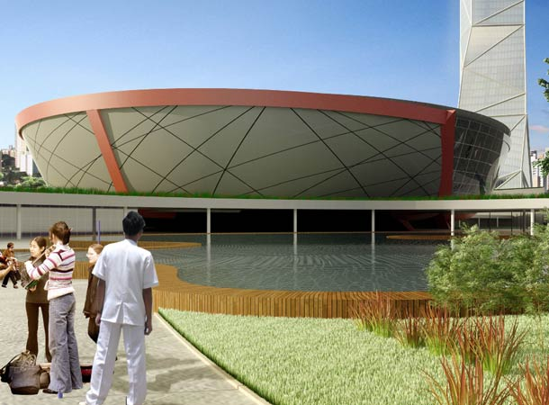 Rendering of new arena with new tallest building in Latin America