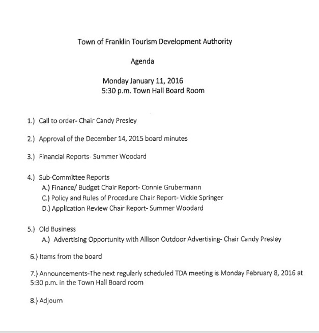 Public Agenda for the Jan 2016 Franklin TDA meeting