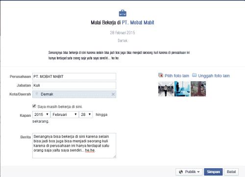 status facebook mulai bekerja di pt
