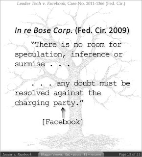 In re Bose Corp (Fed. Cir. 2009) 'There is no room for speculation, inference or surmise ... any doubt must be resolved against the charging party [Facebook].