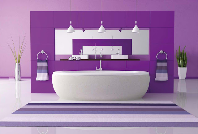 Purple color small bathroom ideas