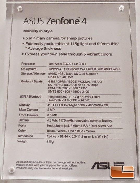 Spesifikasi Zenfone 4