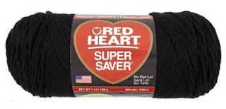 photo of red heart brand of yarn. yarn is the color black