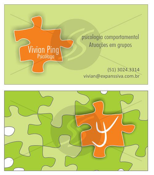 Cartões de Visita Quebra Cabeça Verde Psicologia