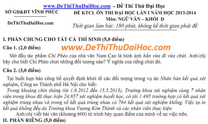 de thi thu dai hoc mon van 2014 co dap an
