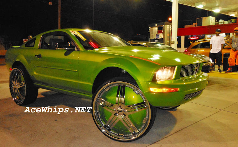 "Slime Green Ford Mustang on 30"" DUB Delusion Floaters"