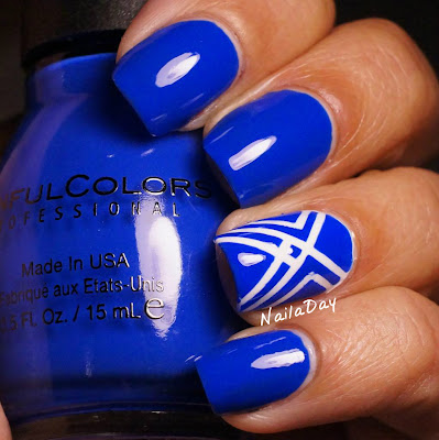 NailaDay: Sinful Colors Endless Blue with striping tape accents