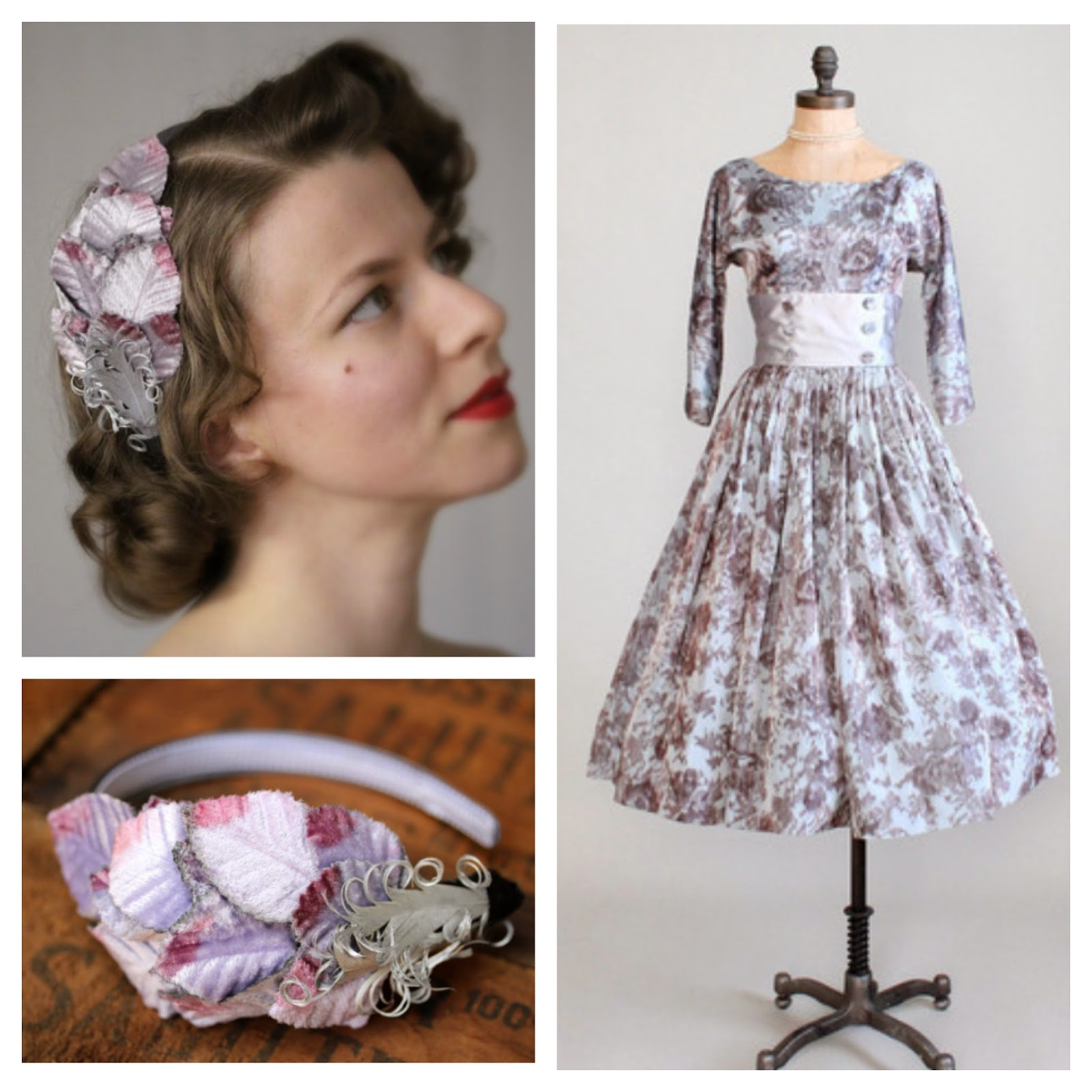 1950s Lavender Lovesong #1950s #dress #lavender #gray #vintage #hair #fashion