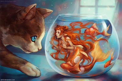 Cat looking at a goldfish mermaid in a bowl, art by Qinni
