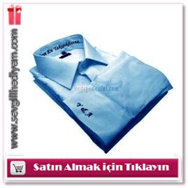 Frenzy Marka Mavi Kişiye Özel Nakışlı Gömlek
