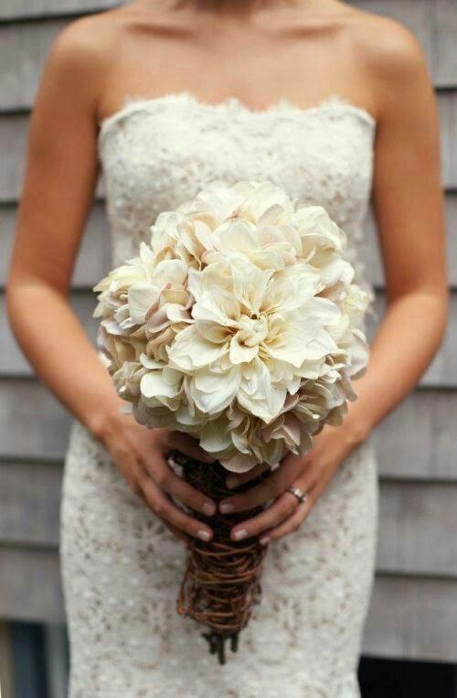 Dahlia Wedding Bouquet White
