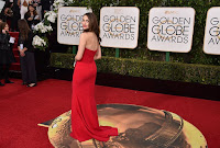 Emmy Rossum sexy in red strapless dress at the 2016 Golden Globe Awards Red Carpet photo