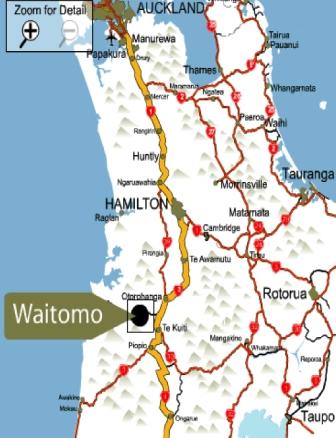 Mapa de Cuevas Waitomo en Nueva Zelanda