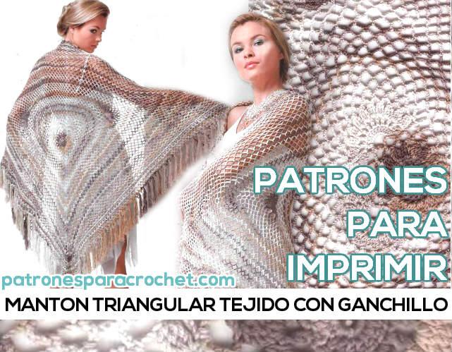 Chal tejido a crochet con diseño triangular calado