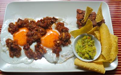 Huevos Rancheros with Chorizo Refried Beans. | www.iFoodTrip.com