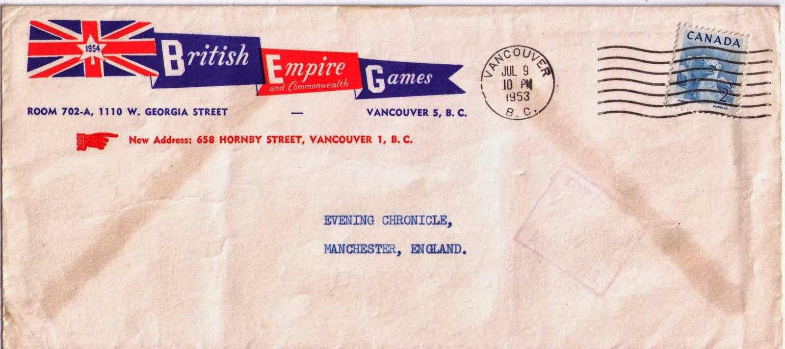 postal history corner 1954 vancouver british empire and 2 cents printed matter rate