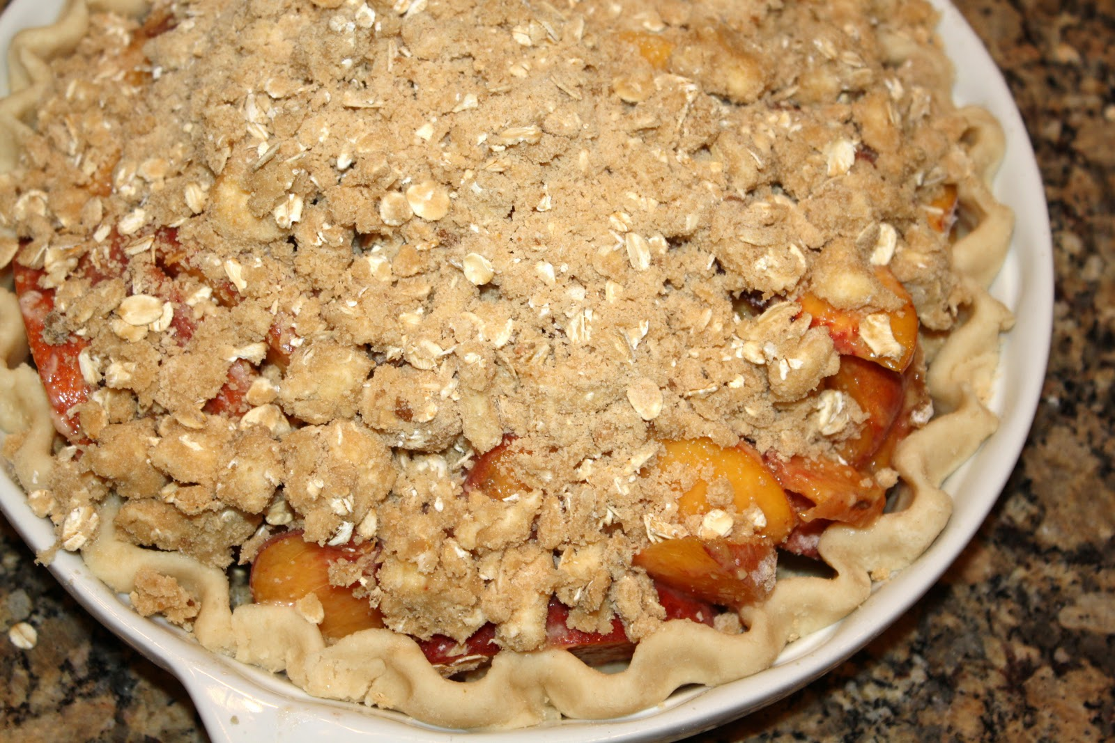 Peach Crumble Pie Recipe — Dishmaps