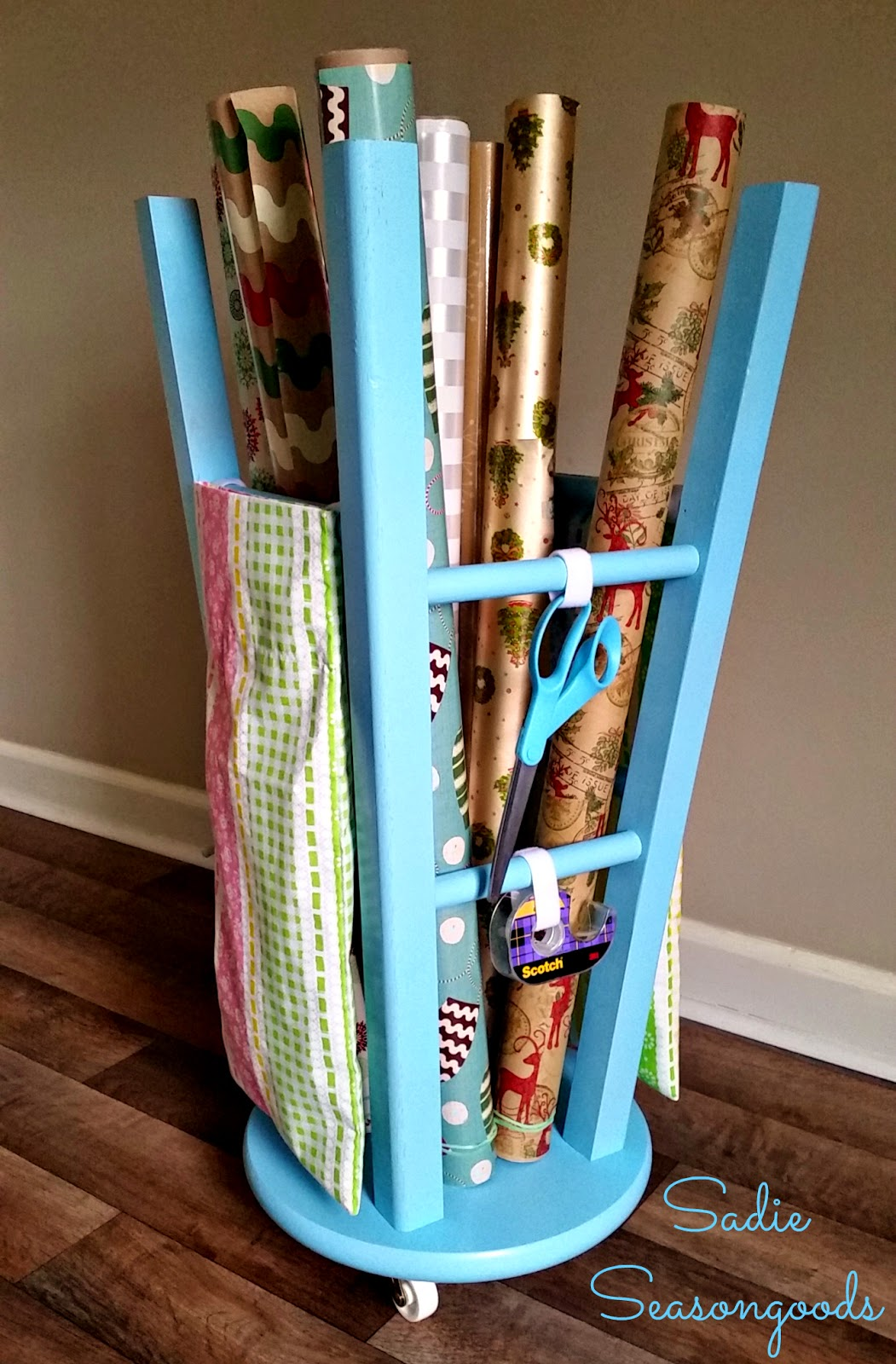DIY Bar Stool Gift Wrap Center, shared bySadie Seasongoods