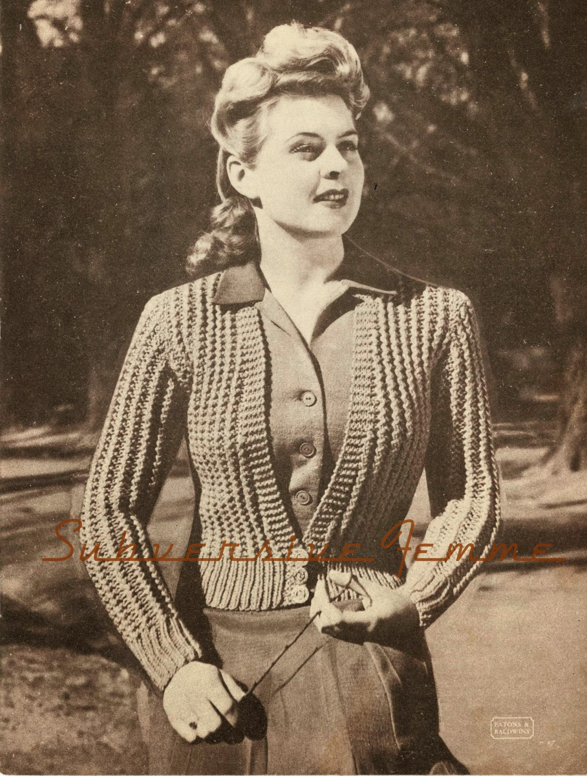 free vintage knitting patterns 1940s cardigan patons and baldwins