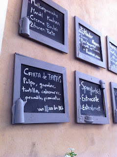 black boards menus cafe Mallorca holidays Liz and Pip Ltd