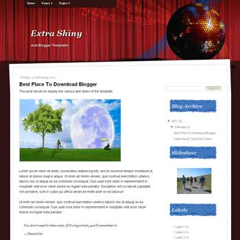 Extra Shiny<br /> blogger template. blogger template from wordpress theme