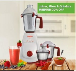(In App) Flipkart : Juicers, Mixer Grinders at minimum 40% off starts from Rs.185