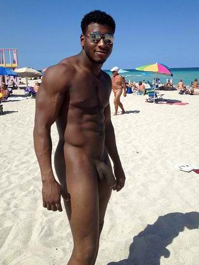 Naked black men on beach