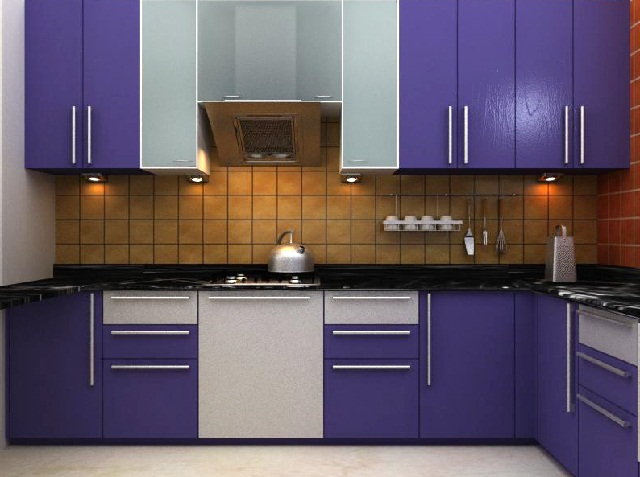 Modular Kitchen Cabinet Purple
