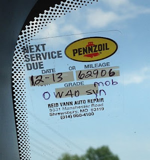Oil change reminder sticker location