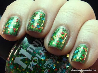 Pretty & Polished Xmas Wreath and Ninja Polish No Peeking!