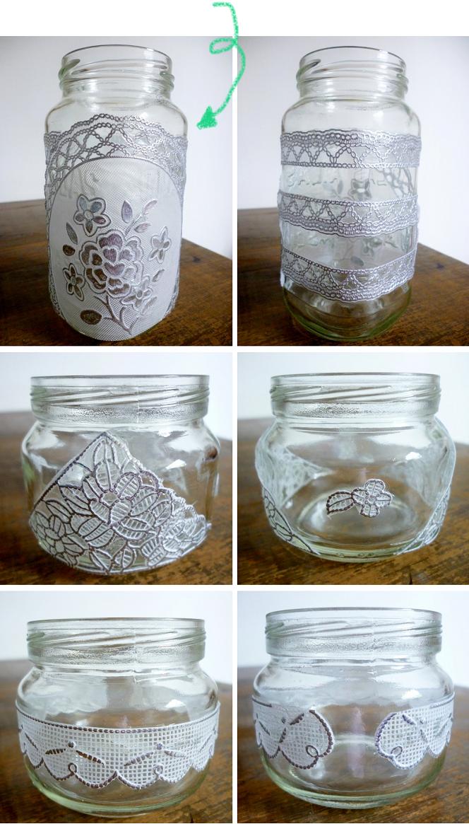 Manitas de gato diy decorar frascos con encaje - Diy frascos decorados ...