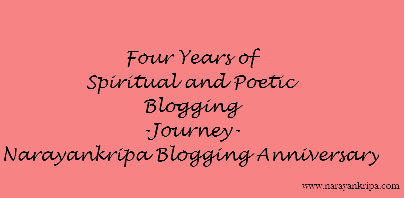 Text Image: Four Years of Spiritual Blogging Journey - Narayankripa Blogging Anniversary