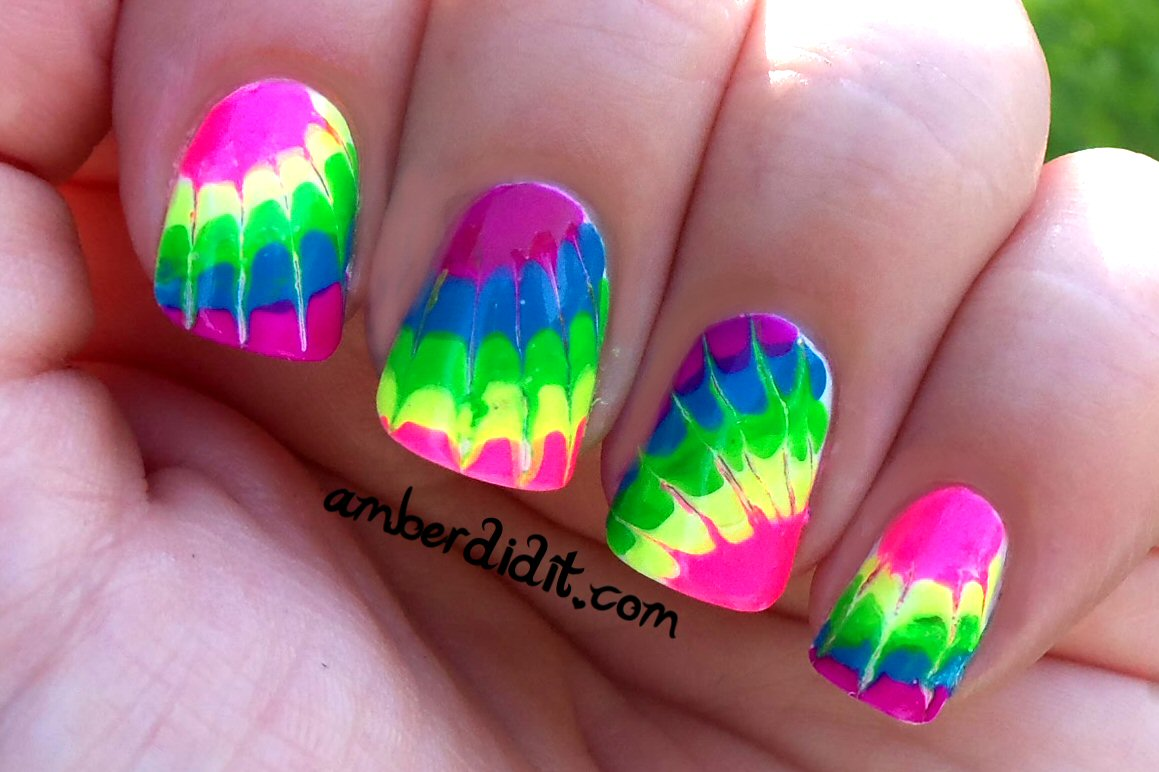 Amber did it!: Neon Tie Dye Nails
